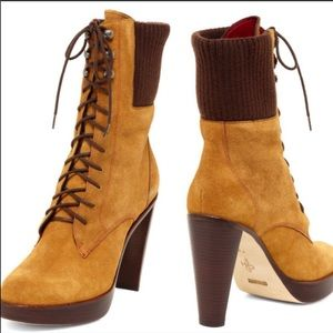 Cole Hann Lace Up Heeled Combat Boots NWT
